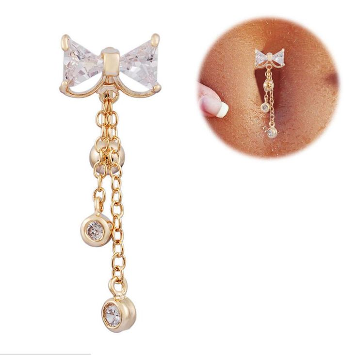 2016 new Reverse Belly Button Ring Dangle Bowknot Clear CZ Navel Bar Gold Plated Dangle Body Jewelry tragus piercing earring