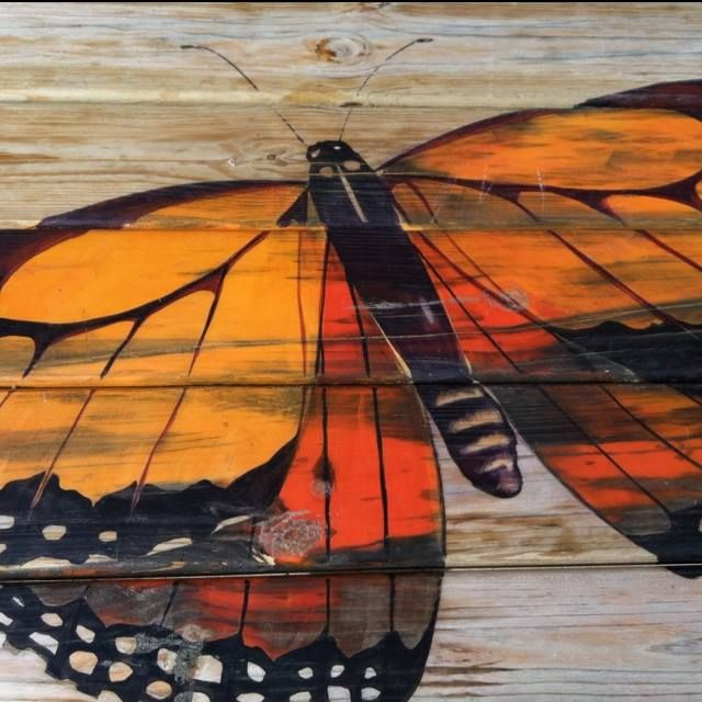 painted butterfly on deck