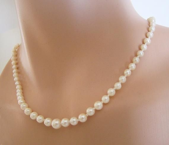 2dc4d011e0311 Vintage Akoya Pearl Necklace, 14k White Gold Clasp, 1940s Graduated ...