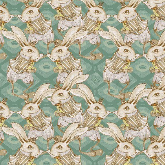 Bunny Rabbit in Teal - RIDDLES & RHYMES (pwtg157)  - Tina Givens - Free Spirit Fabric  - 1 Yard