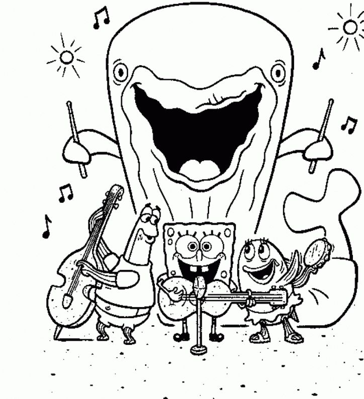 spongebob squarepants band coloring page spongebob cartoon coloring pages - Spongebob Squarepants Coloring Pages Free Printable