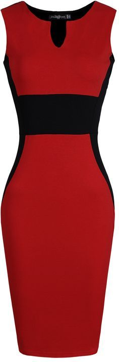 jeansian Women's Sleeveless V-Neck Knee-length Pencil Dress WKD196