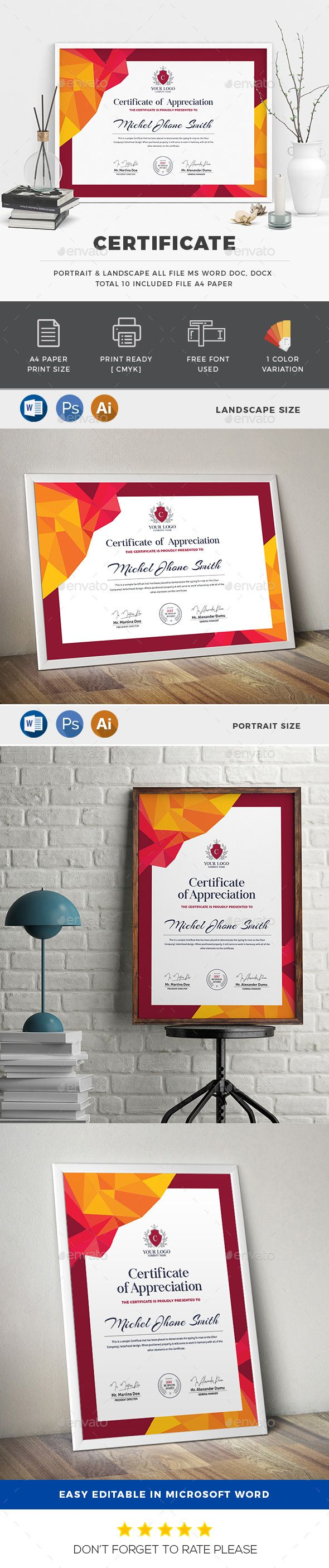 156 best certificate template design images on pinterest buy certificate by generousart on graphicriver features of certificate template 2 color versions paper size with bleeds quick and easy to customize yadclub Gallery