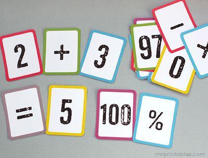 Cartes nombres de 1 à 100 et symboles à imprimer.