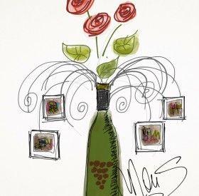 portafoto portafiori, oggetto di recycling, realizzato con bottiglia di vino e tappi di sughero