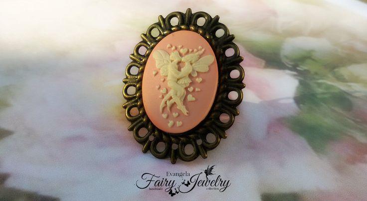 Anello cammeo innamorati fata base bronzo regolabile, by Evangela Fairy Jewelry, 5,00 € su misshobby.com