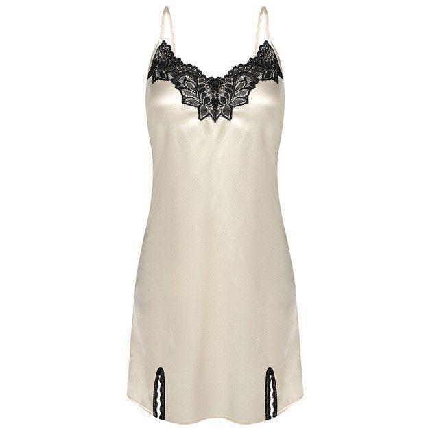 Ekouaer Hot sale Women Nightgown Spaghetti strap Sexy Satin Lace Splicing Nightwear V-Neck Summer Sleepwear Ladies Night Dress