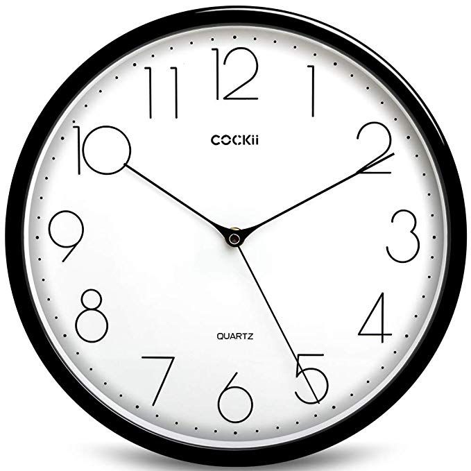Cockii Large Number Wall Clock 12 Inch Silent Non Ticking Quartz Decorative Round Clock Battery Operated Easy Large Number Wall Clock Wall Clock Number Wall