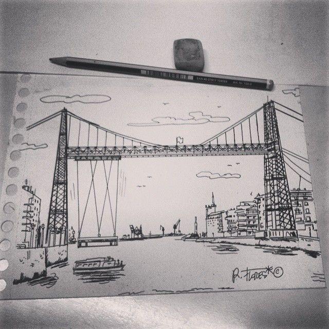 Instagram photo by @Roberto Flores Yoldi via ink361.com A black and white quick #illustration of the #PuenteColgante, #Portugalete, #Bizkaia, #EuskalHerria, #Basquecountry.