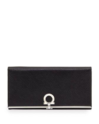 Icona Continental Flap Wallet, Nero by Salvatore Ferragamo at Neiman Marcus.