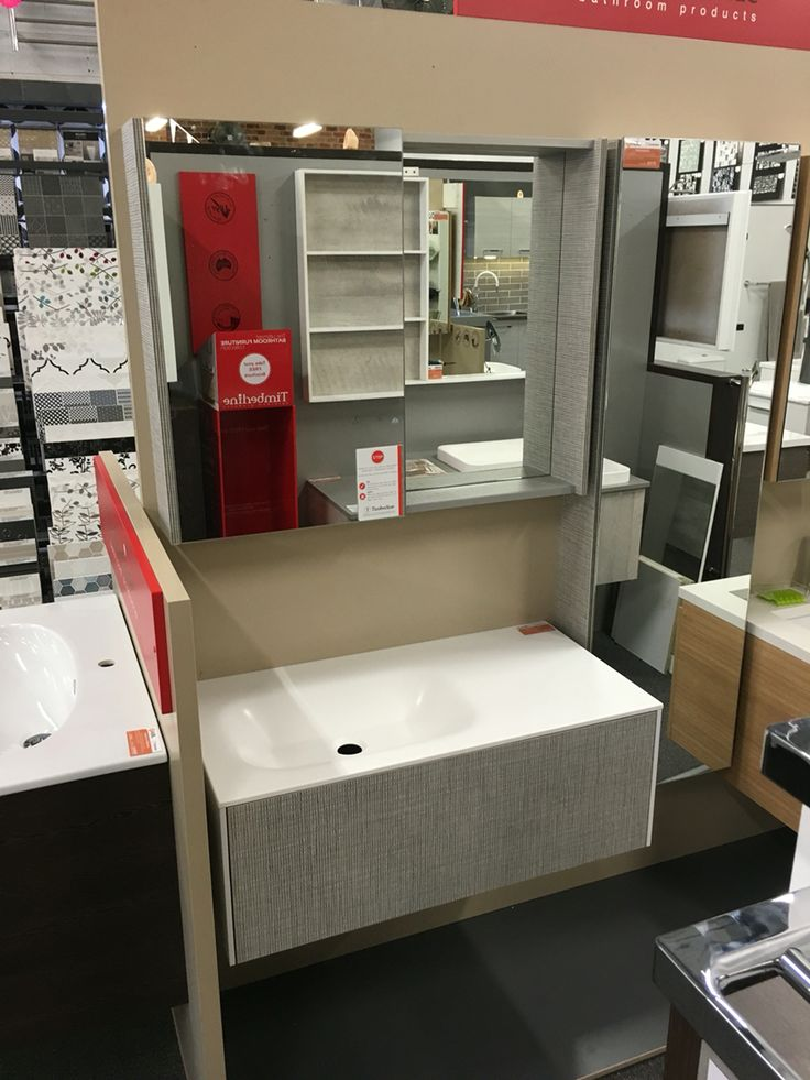 New on display from Timberline. The Andersen wall hung vanity with push to open drawer, Tennessee tallboy with mirrored doorand the Ultima shave cabinet with sliding glass door. In a custom laminex finish.
