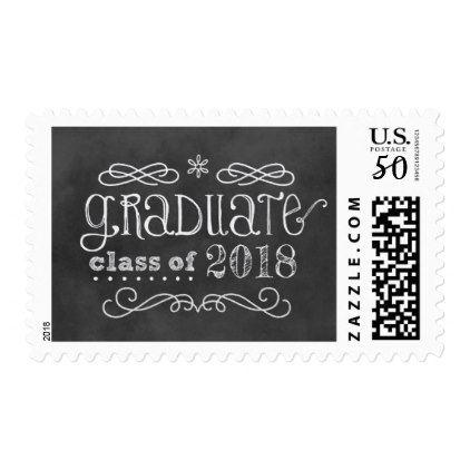 Graduation Class of 2018 | Black Chalkboard Postage - graduation gifts giftideas idea party celebration