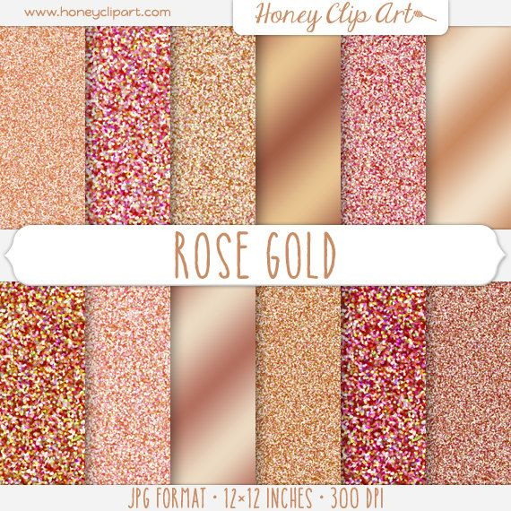 Rose Gold Digital Paper - Copper Glitter Textures - Dusty Pink Sparkle Backgrounds - Metallic Gold Shimmer Paper - Rose Gold Foil Graphics