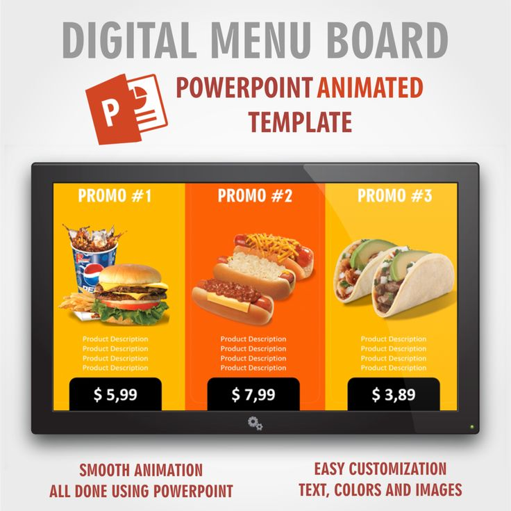 Digital Signage PowerPoint Food Presentation Animated Template #2 (Digital Menu Board)
