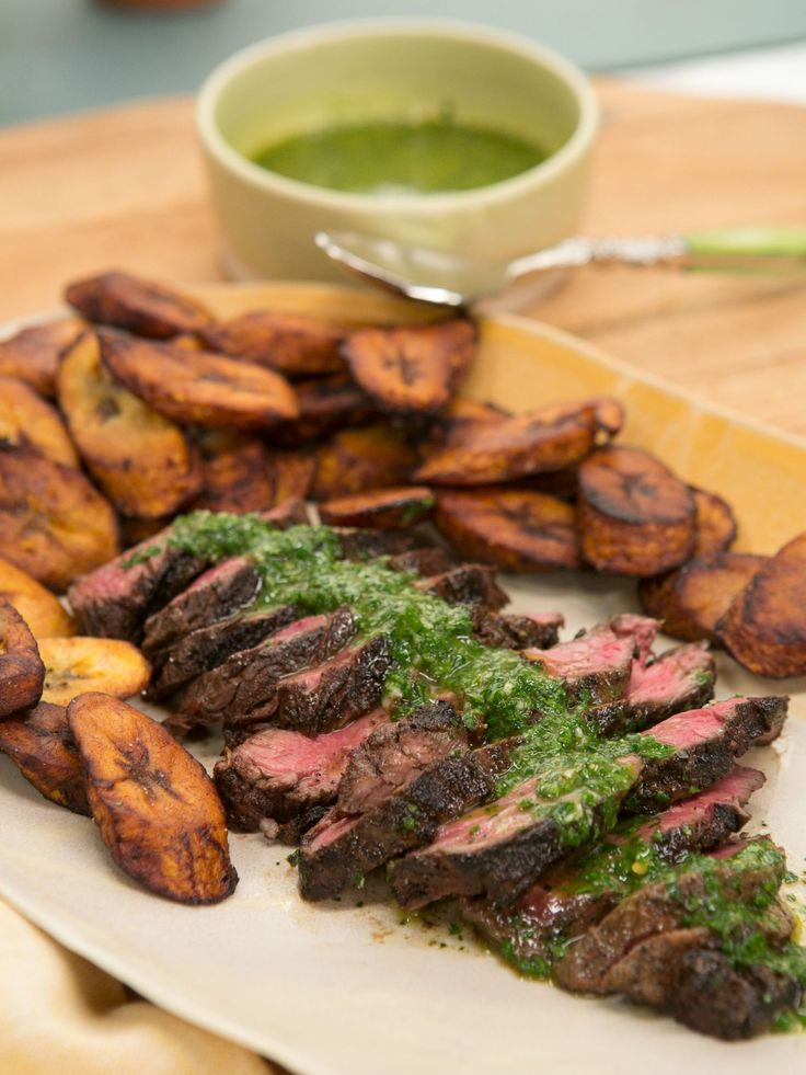 Blackened Hanger Steak with Plantains and Chimichurri recipe from Jeff Mauro via Food Network