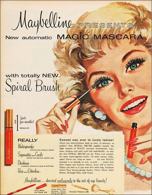 A vintage Maybelline Mascara advert from the 1960s (image: beeskneesdaily.com)