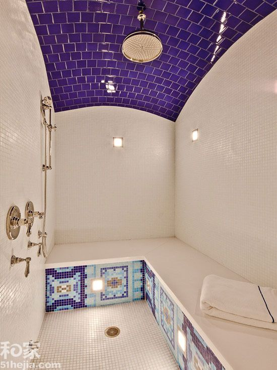 shower with purple subway tile on ceiling