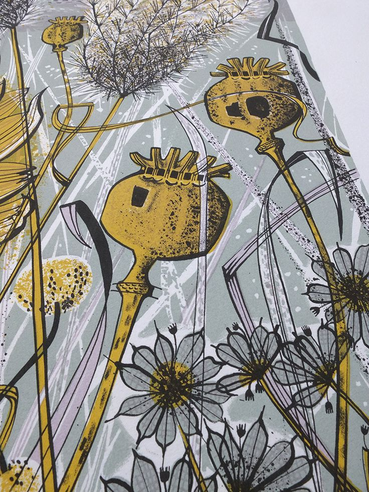Angie Lewin - Autumn Garden, Norfolk - screen print detail