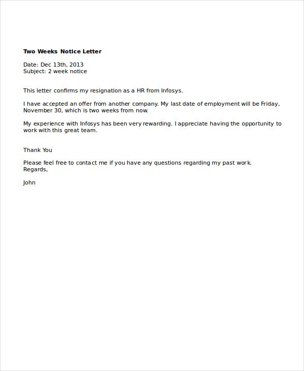 Two Weeks Notice Letter Template from i.pinimg.com