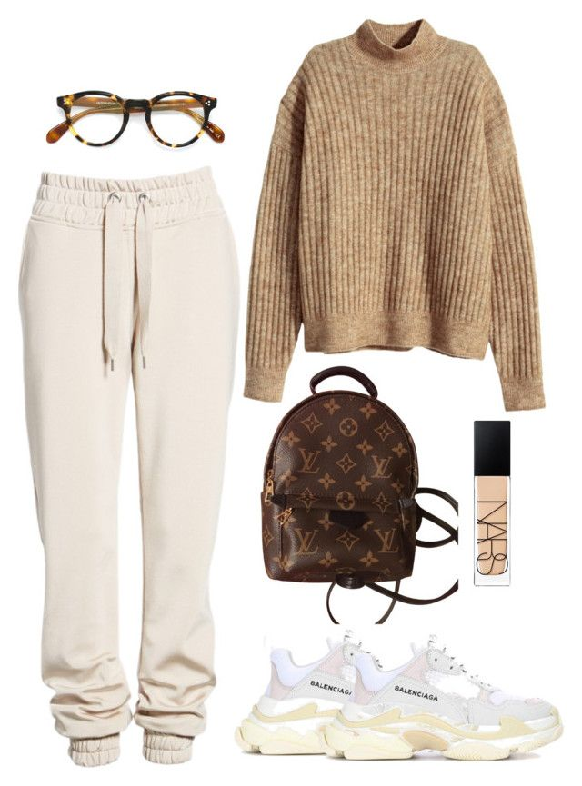 """Untitled #5409"" by theeuropeancloset on Polyvore featuring H&M, Ivy Park, Louis Vuitton, Balenciaga, NARS Cosmetics and Oliver Peoples"