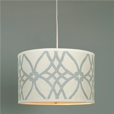 Trellis Linen Drum Shade Pendant - 2 colors.  For dining room
