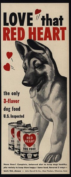 "1951 Cute GERMAN SHEPHERD Puppy Dog Loves RED HEART Dog Food VINTAGE AD - $14.99. This is an ORIGINAL 1951 VINTAGE MAGAZINE PRINT ADVERTISEMENT for RED HEART Dog Food, featuring a Cute GERMAN SHEPHERD Puppy Dog! 51456 This ORIGINAL VINTAGE MAGAZINE PRINT ADVERTISEMENT is approximately 5 inches wide X 13 inches high. No Water Damage, Stains or Tears. We have graded this ORIGINAL VINTAGE MAGAZINE PRINT ADVERTISEMENT to be: ""NEAR MINT"" Watch for our special sales throughout the year! E..."