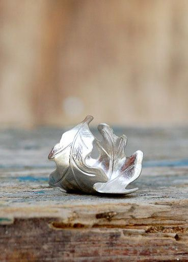 Silver LEAF Ring Romantic Vintage Style Leaf