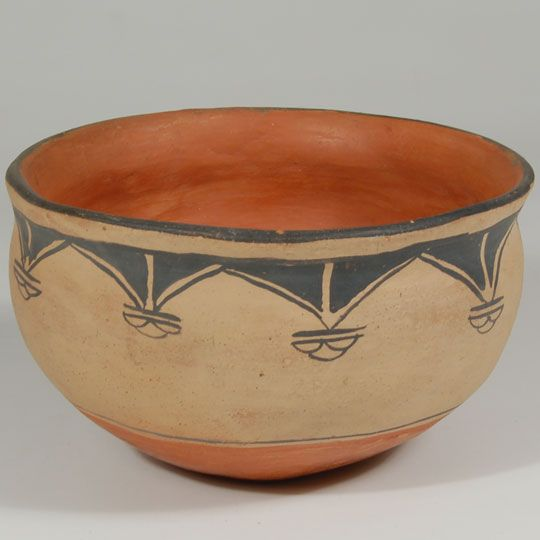 "#adobegallery - Cochiti Pueblo Chile Bowl. Category: Historic Origin: Cochiti Pueblo Medium: clay, pigment Size: 3-3/4"" deep x 6-1/2"" diameter Item # C3753.32"