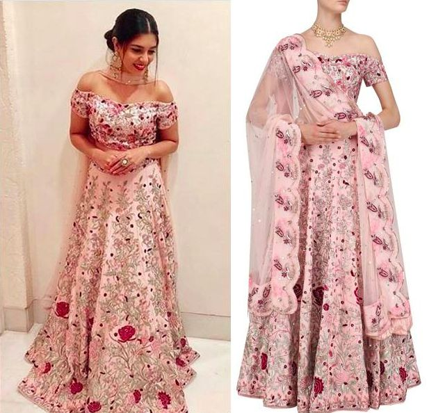 #PoojaGor in this lovely Pink Printed Blouse and Embroidered Lehenga Set by Mani Bhatia  Shop now: https://www.perniaspopupshop.com/designers/mani-bhatia  #celebritycloset #celebritystyle #embroideredlehenga #manibhati #poojagor #indiandesigner #ppusexclusive #shopnow #perniaspopupshop