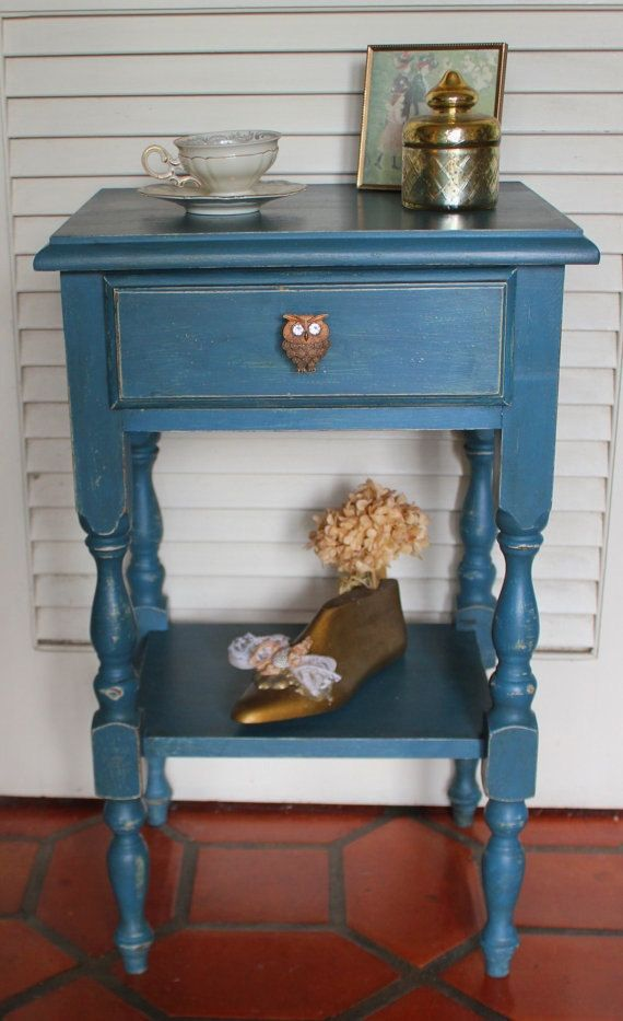 French Blue Bedside Table via Revisited Concepts on Etsy