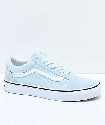 92e8bd75919d Vans Old Skool Baby Blue   True White Shoes in 2019