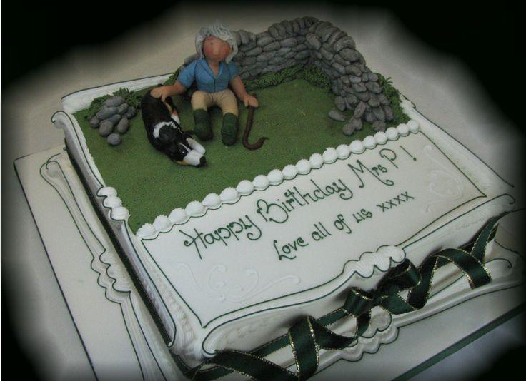 Shepherdess and her dog cake