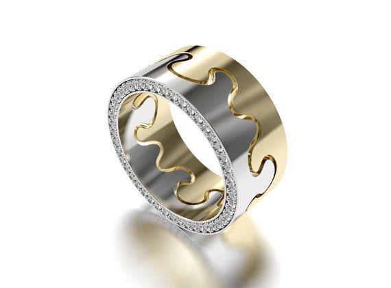 Puzzle I ring diamonds in side by SaarikorpiDesign on Etsy, €3500.00