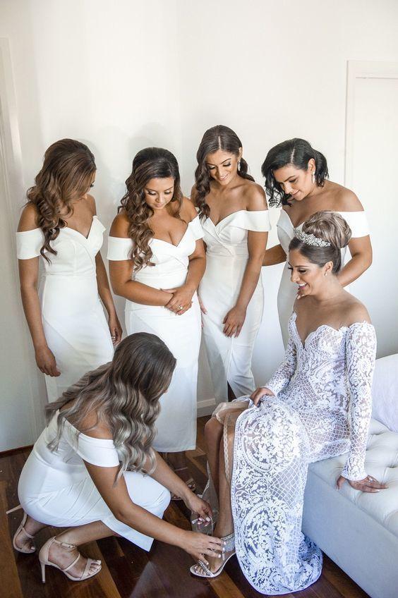 Charming Off the Shoulder White Sheath Mermaid Bridesmaid Dresses