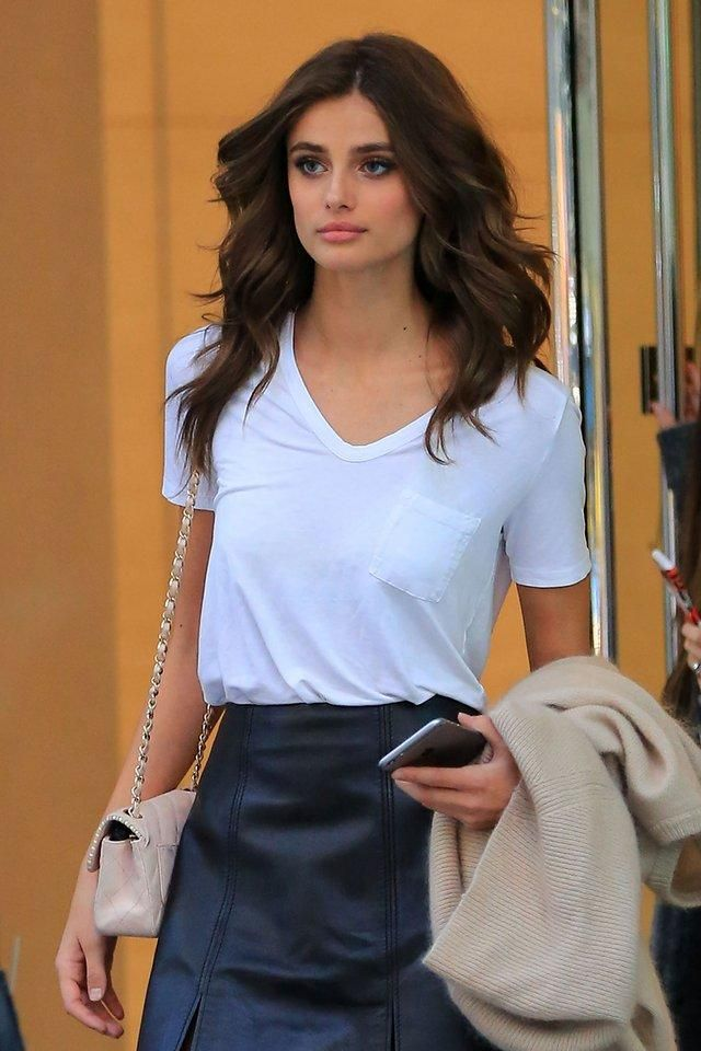 Taylor Hill with signature Victoria's Secret Fashion Show bombshell hair