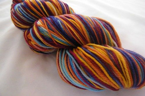 Wonder Knit Self Patterning Wool : Desert Vista Dyeworks Logo Colorway 5 Stripe Self Striping Sock Yarn desert...