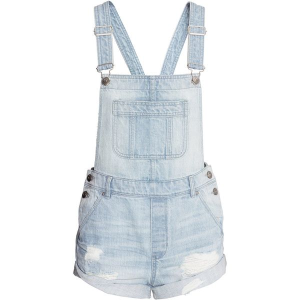 Denim Bib Overall Shorts $34.99 ❤ liked on Polyvore featuring pants, playsuits, shorts, bottoms, overall and short overalls