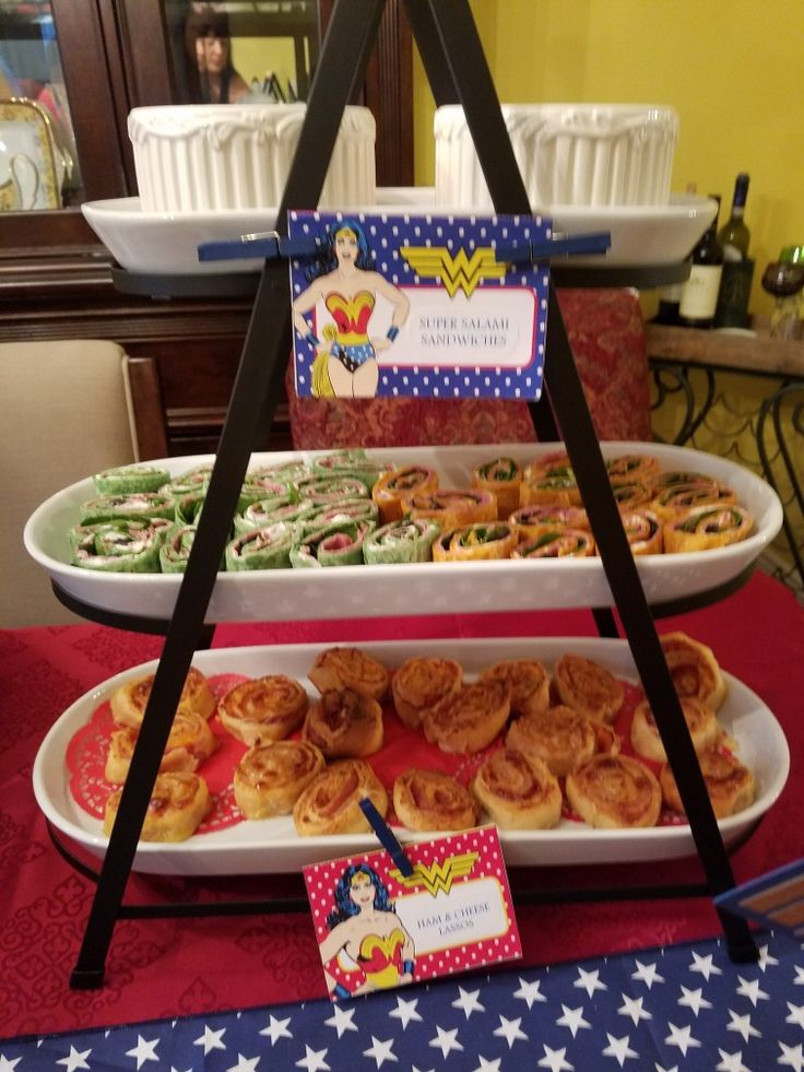 good ideas for wonder woman party  super salmni pinwheel sandwiches and ham and cheese lasso u0026 39 s