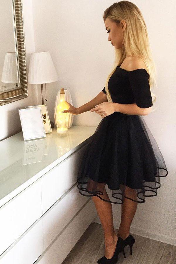 b93ef337c470e simple a-line off-the-shoulder short sleeves little black dress  homecomingdresses partydresses black