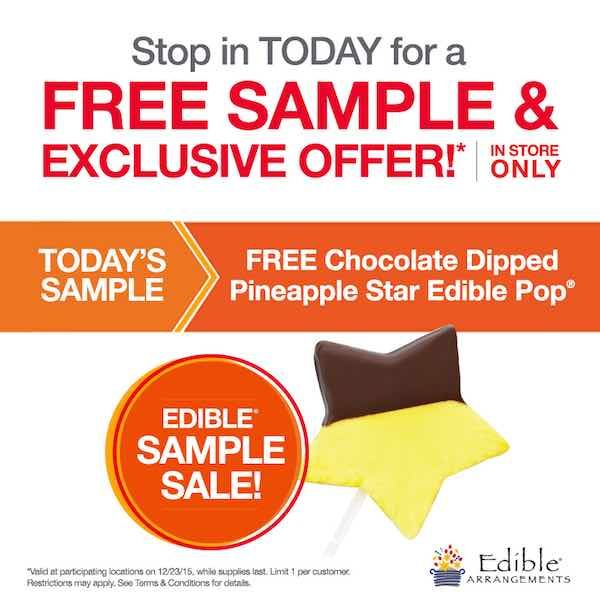 Give that special someone in your life a little something extra today! Get a FREE Chocolate Dipped Pineapple Star!Just head over the the nearest Edible Arrangements location and mention this offer! It's that easy!