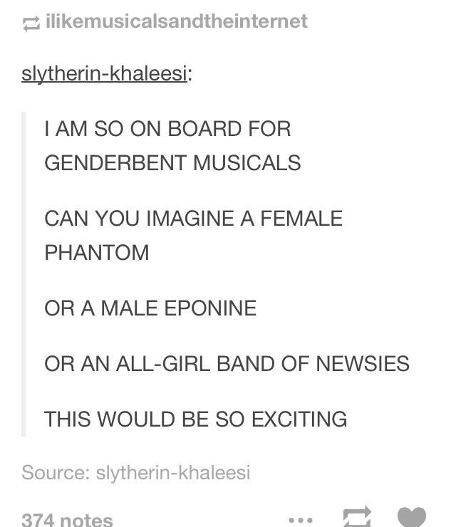 definately. I'd love to be a female phantom (since I'm not a soprano and I'll never be christine....)