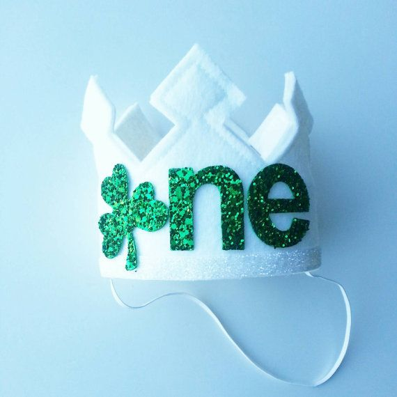 St. Patrick's Day First Birthday Felt Crown and by Kutiebowtuties
