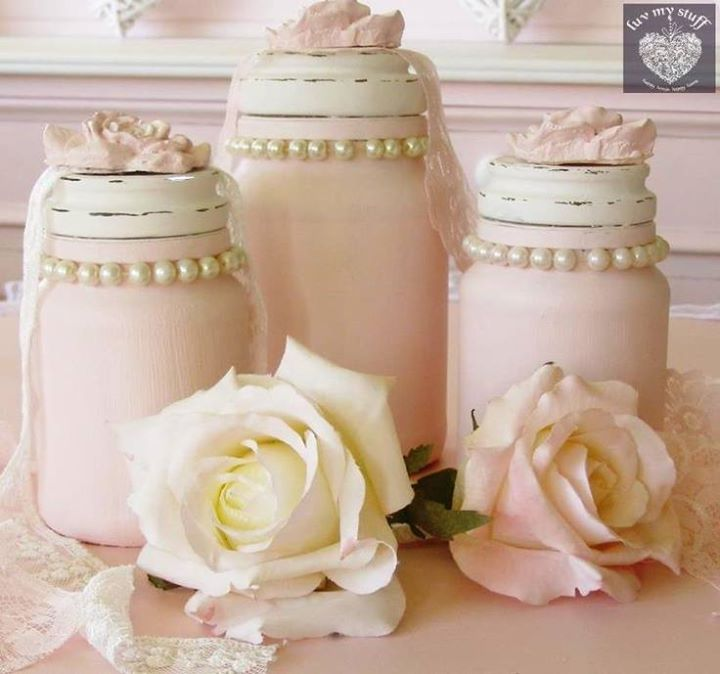 Romantic Cottage. Me: I love the (glass) pearls added to the neck of the mason jars! How sweet! How feminine!