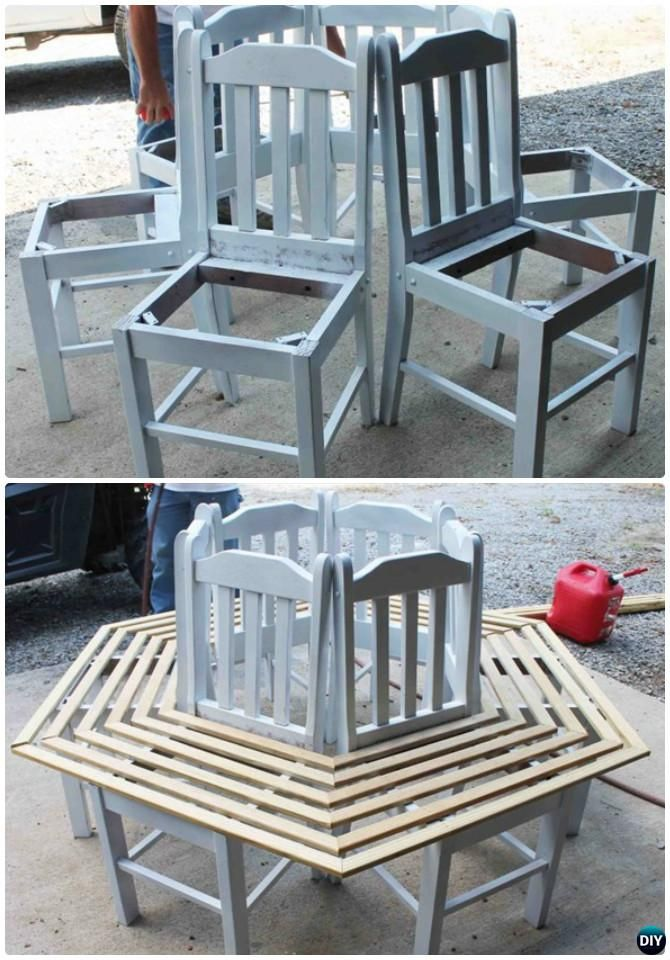 DIY Recycled Chair Around Tree Bench Instruction-- Ways to Repurpose Old Chairs DIY Ideas