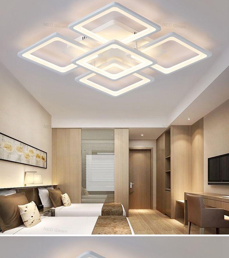 NEO gleam прямоугольник дистанционного управления гостиная, спальня современные светодиодные светильники потолочные Luminarias Para Sala затемнение светодиодный потолочный светильник купить на AliExpress