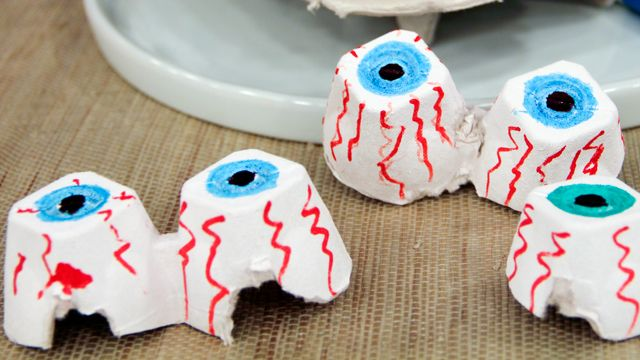 Egg Cartons as Scary Eyes