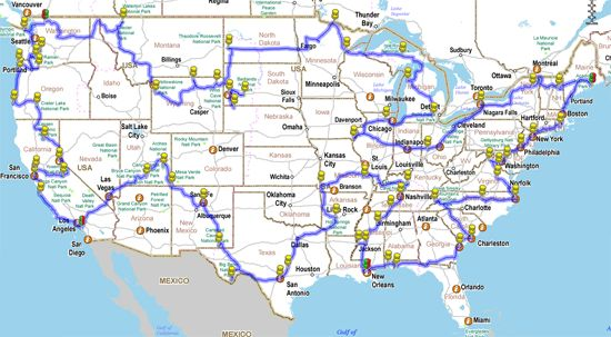 This trip planner route is a long one. It covers 48 of 50 states and would most likely require 3 ½ to 4 months to complete. However, it's the most comprehensive of cross-country RV trip routes out there that encompass as many cultural and sightseeing experiences as one could possibly want