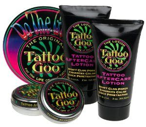Tattoo Goo Salve  Lotion Combo Kit (Pack of 2) by Tattoo Goo. $14.50. Great Gift Item!. Tattoo Goo is the original pharmacist developed BodyArt Aftercare product line. Tattoo Goo Salve heals the skin but does not pull ink out. Tattoo Goo Lotion is excellent for everyday use to keep the tattoo area soft and the color enhanced. Tattoo Goo Salve is all natural and also helps skin that is sunburned, wind burned, scraped or nicked. FREE Tattoo Goo Lotion 2 oz. with purchase- ...