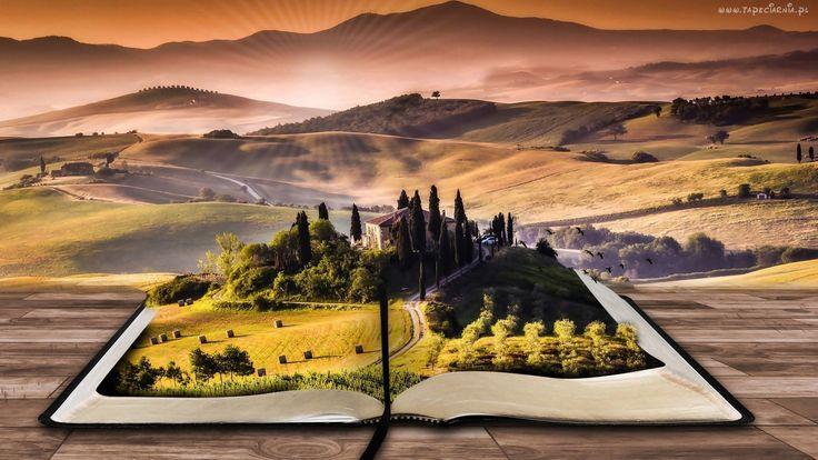 Książka, Krajobraz, Włochy, Toskania, Grafika