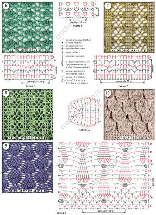 Узоры из вертикальных ажурных полос с цветочным мотивом со схемами и обозначениями для вязания крючком. Страница 128.